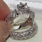 Fashion Jewelry 925 Sterling Silver White Topaz Hollow Ring Set Wedding Bridal