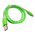 1m Green Braided Rope Nylon USB Data Sync Charger Cable For Android Samsung LG