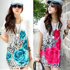 Women Short Sleeves Flower Rose Print Mini Dress Casual Loose T Shirt Blouse Top