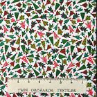 Christmas Fabric - Small Red & Green Tress on White - Santee Cotton YARD
