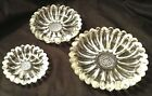VTG Hazel Atlas Crystal Garden Party Sunflower Daisy Nesting Ashtrays Set of 3