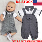 2PCS Newborn Baby Boy Gentleman Outfits Clothes Shirt Tops Bib Pants Jumpsuit US