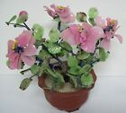 Vintage Asian PINK  Green GLASS BONSAI Tree Flower Pot