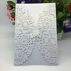 10pcs Invitations Cards Vertical Laser Cut Butterfly Kits Wedding Bridal Show