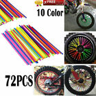 72x New 10Color MX ATV Motocross Wheel Spoke Wraps Skins Trim Cover Pipe Plastic