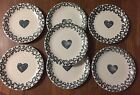 Seven Tienshan Folk Craft HEARTS GREEN Salad Plates Sponge 7-1/2