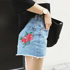 Fashion Embroidery Rose Vintage Shorts High Waist Girls Light Blue Jeans