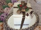 Vintage Fitz & Floyd Ceramic Reindeer Holiday Gift Box w/Lid, Candy, Christmas