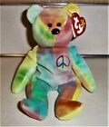 Rare 1996 Ty Beanie Baby Peace  PVC Style 4053 ERRORS Old Face Off Center Nose