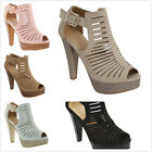 New Womens Fashion Gladiator Cut Out High Heel Platform Pumps Sandals Shoes