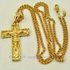 "REAL CUPID 18K YELLOW GOLD GP 1.8"" CORSS JESUS PENDANT 23.6"" NECKLACE 1420d"