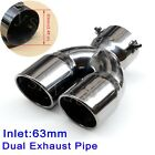 Inlet 63mm 248 Universal Tail Rear Pipe Tip Muffler Dual Outlet Exhaust Black