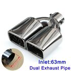 Universal 63mm 25 Inlet Car Tail Rear Pipe Tip Muffler Exhaust Silencer Cover