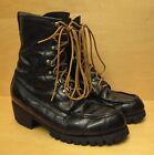 AUTHENTIC VINTAGE TED WILLIAMS LEATHER HUNTING, BIKER BOOTS BLACK SIZE 9D USA
