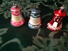 3 ANTIQUE VINTAGE GLASS BELLS GLASS CLAPPER MICA STENCILED CHRISTMAS ORNAMENTS