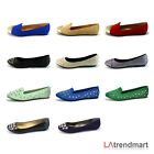 New Women Round Toe Ballet Loafer Flats Studded Slip on Casual Comfort Shoe