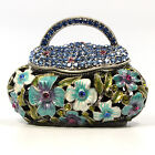 Jeweled flower motif purse Faberge trinket box with crystal covered top