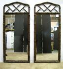 *PAIR* Henredon Faux Bamboo Mirrors With Tortosieshell Style Painted Finish