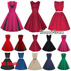 50S 60S ROCKABILLY Vintage Style Polka Dot Swing Dress Retro Housewife Pinup
