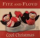 Fitz and Floyd  Cool Christmas Salt And Pepper Shaker Set w/ Tray - PENGUINS
