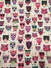 SNUGGLE FLANNEL OWLS White w Pink Green Purple 100 Cotton Fabric 1375 yards