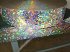 HOLOGRAPHIC CRYSTAL STICKER strip 35X 12ft peel off back signs labels shapes