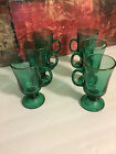 6 Juniper Green Libbey Irish Coffee Tea Pedestal Cups Mugs Glasses 22k Gold Trim