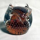 Vintage Pilgram Light Orange Art Glass Owl Paperweight w Controlled Bubbles