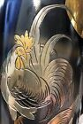 A JAPANESE SILVER AND MIXED-METAL VASE Rooster and Chicken Moonlight scene |