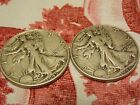 Lot of 2 Silver standing liberty half dollar coins 1 Face Value