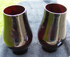 Vintage Matching Pair of Ruby Red HURRICANE Lamp Candle Lamp Chimney Shades