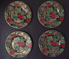 FOUR FITZ & FLOYD HOLIDAY PINE SALAD DESSERT PLATES EXCELLENT CONDITION 8 5/8