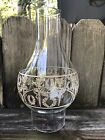 Vtg Clear Wheat Torch Design Glass Hurricane Candle Lamp Chimney Shade