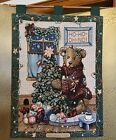 *Boyds Bears & Friends Elliott & The Tree Christmas Green Tapestry Wall Hanging*