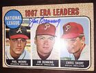 JIM BUNNING 1968 Topps 1967 ERA Leaders #7 Baseball Card AUTO Autograph Signed