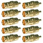 10x BNC Female Connector to RCA Male Jack Gold Plated Coax Coaxial CCTV Adapter