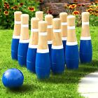 Hey! Play! PlayWooden Lawn Bowling Set 8 11 New Outdoor Inch Yard Blue Game