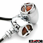Chrome Pair of Front or Rear Turn Signals Indicator Blinker Lights Engine Blade