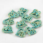 10pcs Love Heart Bronze Green Charms Bead Pendant DIY Jewelry Making 1414mm
