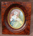 Elegant French Victorian LARGE Miniature Painting Ox Mother  child Rattle