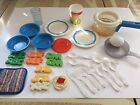Fisher Price Dishes Fun With Food Vintage Kitchen Plates Bowls Cup Alphabet Soup