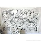 World Map Linen Fabric World Map Curtain Material Tapestry 65 x 105cm panel