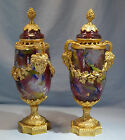 French Neo Classical Gilt Bronze Pair Color Crackled Glass Potpourri Lidded Urns