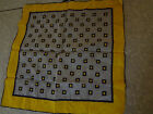 Vintage hankie unisex mens pocket square yellow navy blue soft cotton wedding