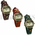 Retro Mens Womens Cool Punk Hollow Dial Wrist Watch Leather Band Bracelet Cuff