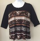 Suzie In The City Womans Back Animal Print Tunic Top Size 1X Open Back Cheetah