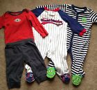 3 6 month baby boy clothes Lot Monsters Football Monkey Heartbreaker Sleepers