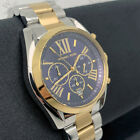 New Michael Kors MK5976 Bradshaw Gold Silver Navy Chrono Ladies Women 43mm Watch