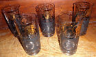 Libbey  Federal Glass Black Gold Coins 5 Retro Vintage Bar Ware Tumblers 16 oz.