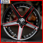 20 MQ 3226 WHEELS BLACK RED MILLED ACCENTS STAGGERED RIMS 5x120 FIT CAMARO